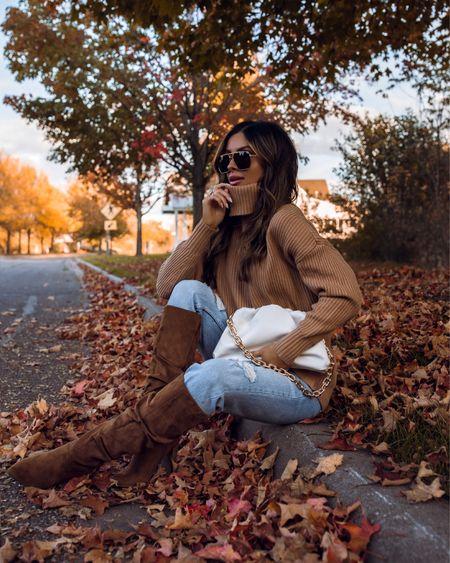 Walmart fall outfit  Walmart camel sweater Walmart slouchy boots Free Assembly jeans Similar Bottega Veneta bag  #LTKstyletip #LTKunder50 #LTKunder100