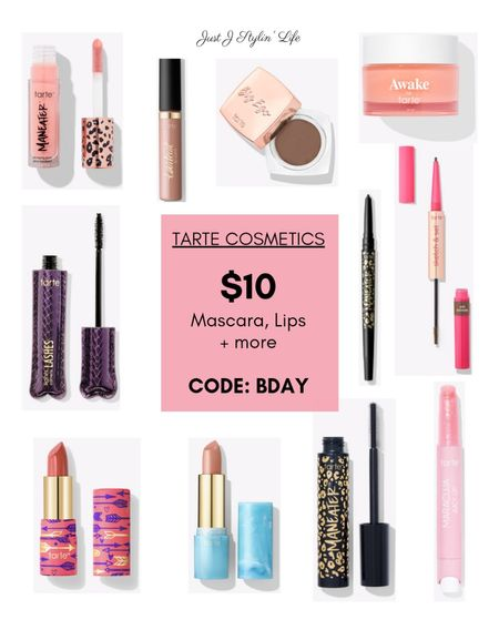 """Tarte Cosmetics birthday sale! Friday and Saturday get $10 mascara, lipstick, lip gloss, brow pomade and more. Use code """"BDAY"""" at checkout. Free shipping too! Maneater mascara gel eyeliner, and gloss. Color splash and butter lipstick, lip paint, lip mask and more.   #LTKGiftGuide #LTKbeauty #LTKsalealert"""
