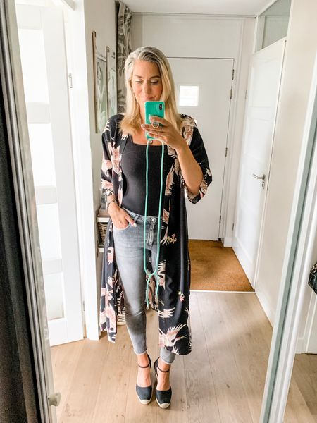 """Outfits of the week-Friday  You all loved this kimono and so do I! And it doesn't have to super nice weather in order to wear also.   I have combined with grey jeans (L/34""""), a bodysuit (M) and a pair of espadrilles wedges.     #LTKswim #LTKeurope #LTKstyletip"""