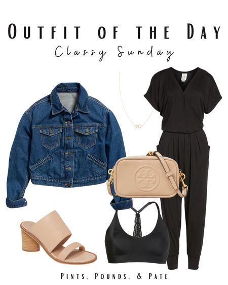 Classy Sunday jumpsuit and jean jacket combo   #LTKsalealert #LTKstyletip