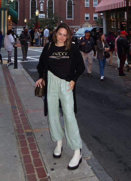 Sequin sweatpants. Gucci shirt. Fall outfit idea. Fall fashion. Weekend outfit. White Chelsea boots. Rebecca Piersol style. Fall outfit. Marc Fisher Boots Sale.   #LTKSeasonal #LTKshoecrush #LTKsalealert