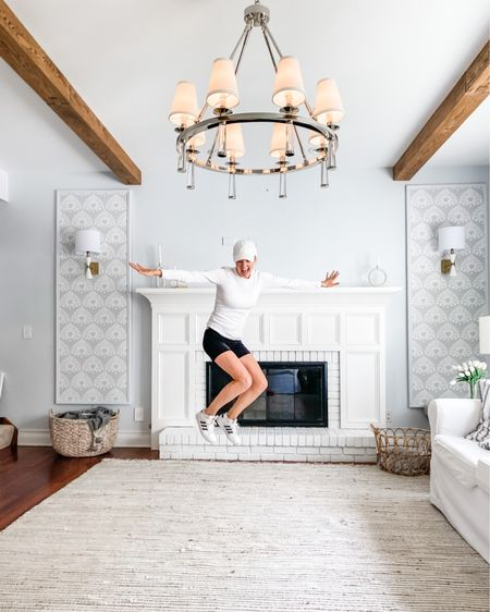"""This pretty much sums up my enthusiasm for this weeks living room updates!! 🎉🎉 The ceiling beams were just installed and I love how they add drama to this room 💓  More on our mantel redesign and beam install on ShiningOnDesign.com (link in bio or search for """"ORC week 5""""!) Thank you @theonemanwoodshop again for making these projects come to life!!  #orcspring2021 @oneroomchallenge #orcbhg #betterhomesandgardens #oneroomchallenge http://liketk.it/3gO0o #liketkit @liketoknow.it #LTKstyletip #LTKhome"""