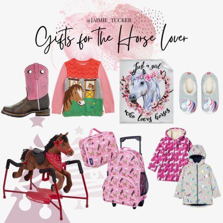 Horse lover gift ideas that you can gift your little one over the holidays! | #giftguide #christmasgiftguide #littlegirlgifts #girlgifts #girlpresents #horsesweater #horseslippers #littlegirlsroomdecor #horsethrowblanket #horseblanket #horsejacket #fallouterwear #kidsfallouterwear #kidshomedecor #kidscowboyboots #kidslippers #JaimieTucker  #LTKGiftGuide #LTKHoliday #LTKkids