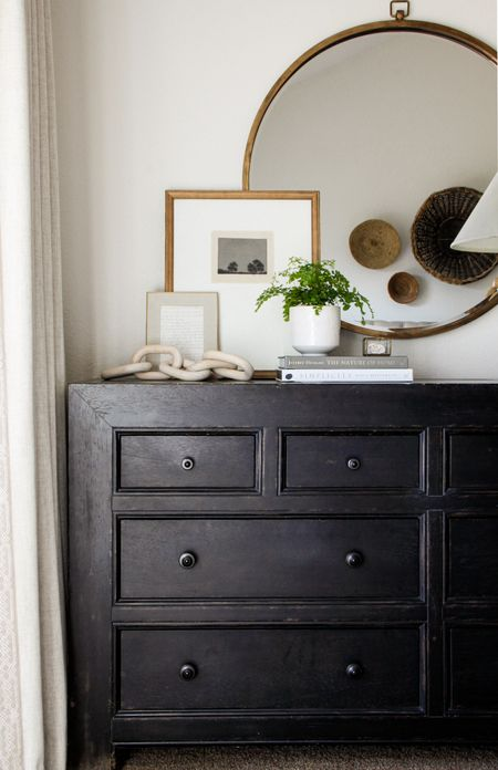 The TV is gone, and the master bedroom dresser styling is done! All possible sources linked here, but a more extensive list can be found at www.wildflowerhomeblog.com . http://liketk.it/2JEPn @liketoknow.it #liketkit