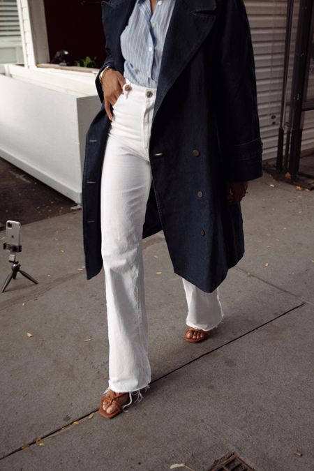 Denim trench and wide leg jeans