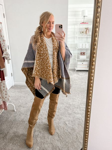 Loving this Walmart find for fall. It's a soft and cozy poncho that feels like a blanket