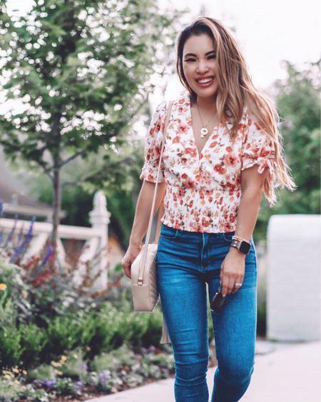 Abercrombie casual smocked blouse top - XS / TTS  Summer weekend outfit  Abercrombie curve love skinny jeans - 24 short / TTS  @liketoknow.it http://liketk.it/3hmqH #liketkit #LTKsalealert #LTKDay #LTKunder50