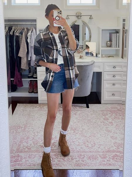 Fall shacket outfit with denim shorts and boots, fall outfits, shein, madewell jean shorts on sale 40% off  #LTKunder100 #LTKshoecrush #LTKstyletip
