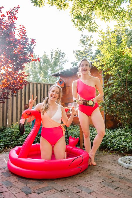 Sharing the cutest pink swimsuits and pool setup!