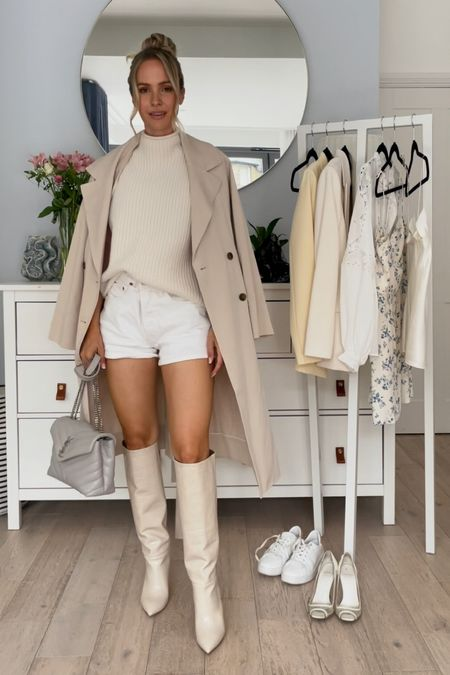 I'm 5'5 and I'm wearing a waist 26 in the white jeans shorts. I'm normally a W25, so they are a bit oversized in me. Take your normal size for a better fit   I sized up 1/2 size I'm my cream Paris texas boots.   I'm wearing size  US 0 I'm the beige sustainable trench coat.  My bag is the grey saint Laurent Loulou in size small   #LTKSeasonal #LTKeurope #LTKstyletip