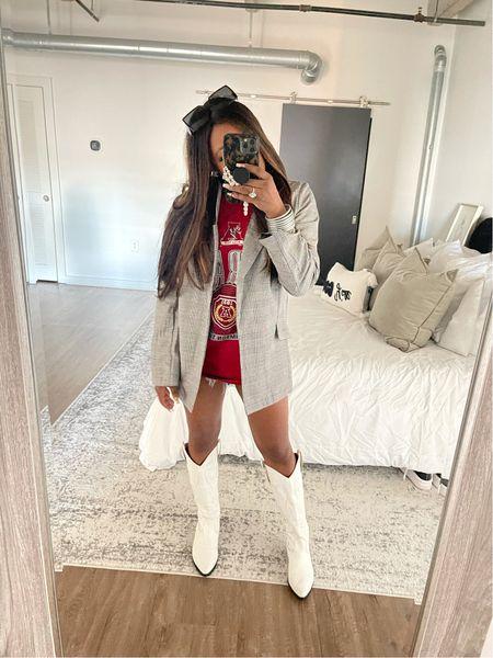 Game day cowboy boots cow girl boots jean shorts blazer fall fashion game day T-shirt Alabama bama roll tide   #LTKunder100 #LTKshoecrush #LTKsalealert