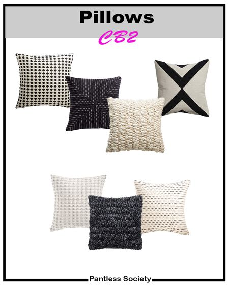 Pilllows are an easy and inexpensive way to update a room. Living room. Bedroom. Fall decor. Fall home decor. All these options are from CB2. Modern. Black and white. Cream. Neutral living room.  #LTKunder50 #LTKfamily #LTKhome