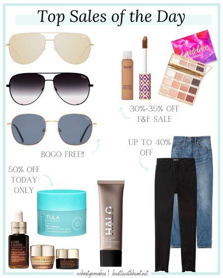 Sales of the day: tarte sale, Abercrombie jeans up to 40% off, Ulta beauty favorites 50% off, quay sunglasses BOGO free   #LTKsalealert #LTKstyletip #LTKbeauty
