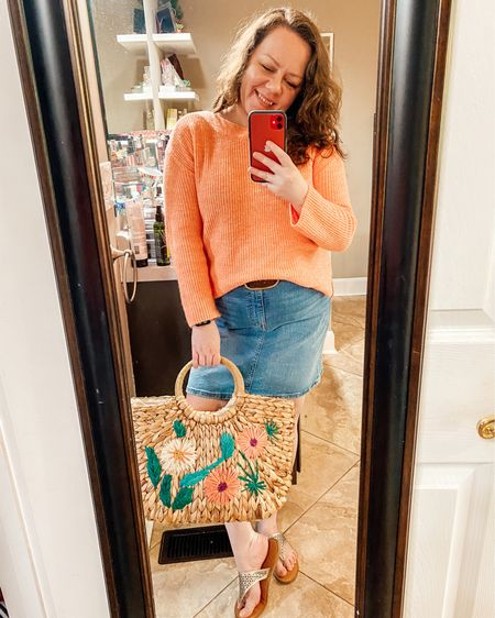 Spring transition outfit with sweater and denim skirt  Shop my daily looks by following me on the LIKEtoKNOW.it shopping app @liketoknow.it http://liketk.it/3f74h #liketkit #LTKcurves #LTKitbag #LTKunder50