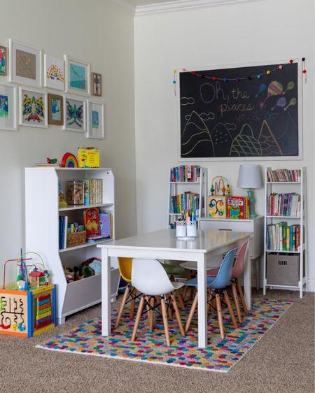Playroom storage ideas, playroom decor idea, toy storage ideas, playroom furniture. #liketkit @liketoknow.it white playroom furniture, colorful rug, chalkboard, playroom chairs, kids table, gallery wall. http://liketk.it/3fOsG