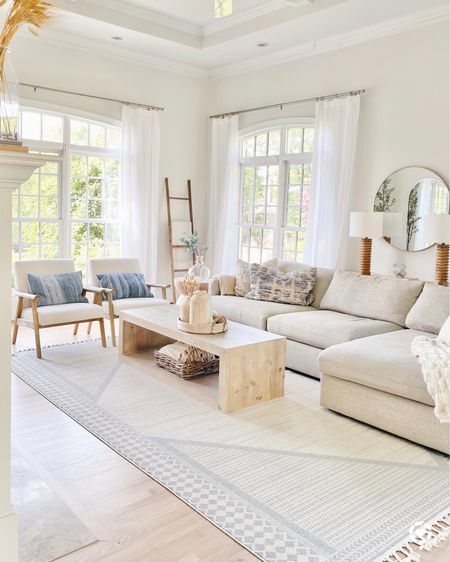 """Living room coffee table and side table currently on sale.  My rug is 9'x12' size.  My white curtains 104"""" long.  @liketoknow.it #liketkit http://liketk.it/2RM8m #StayHomeWithLTK #LTKhome #LTKsalealert"""