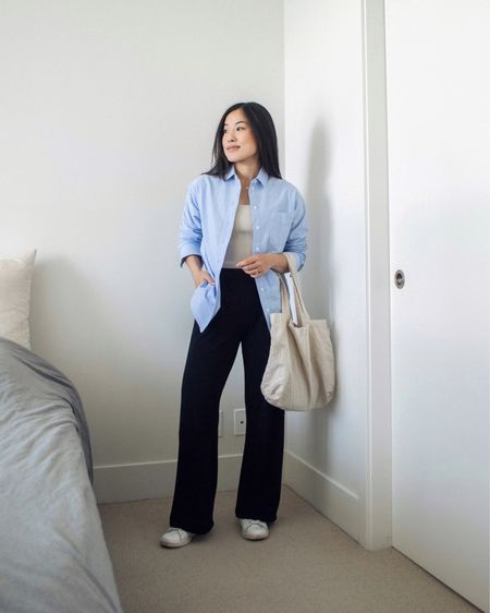 I love that this shirt can act as a light outer layer, creating a polished look with added warmth. Here I dressed it down with some wide leg pants and sneakers.   #LTKunder50 #LTKstyletip #LTKSeasonal