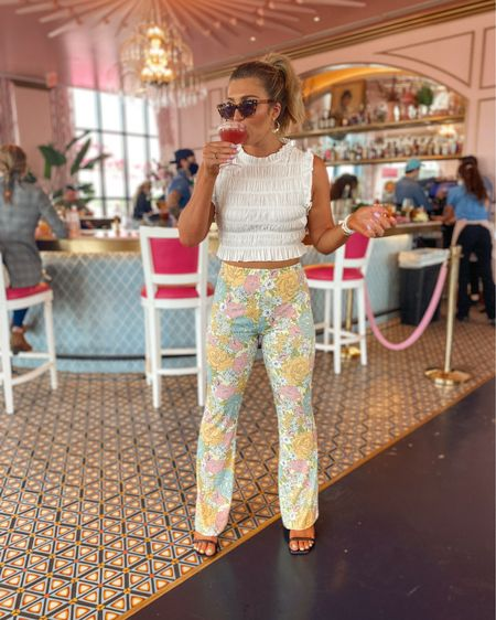 comfy flared pants! Wearing a small in them. Paired with a cute smocked top. Think they'd look great with a tunic too! http://liketk.it/3gQZH @liketoknow.it #liketkit #LTKunder50 #LTKtravel #LTKstyletip