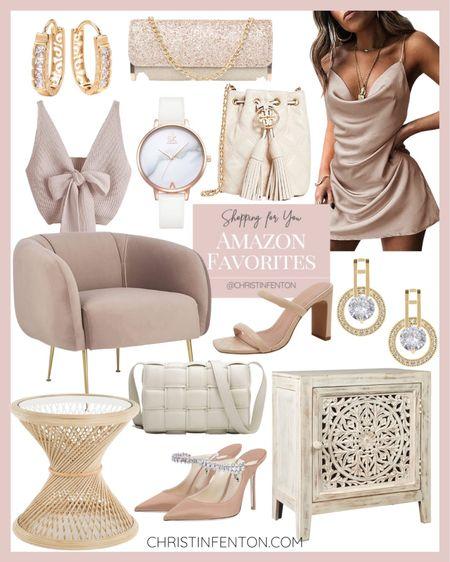 Neutral fashion finds & neutral home finds off Amazon 🤍 neutral mini dress, rattan side table, Sam Edelman chunky heel sandals, white bow earrings, pink glitter clutch, neutral heels, neutral pumps, neutral cabinet, mid modern neutral accent chair, cream ruched handbag, neutral booties, metallic glitter clutch for wedding, Tory Burch earrings 🎀 @shop.LTK #liketkit @liketoknow.it #LTKit #liketoknowit @LTK.home #founditonamazon 🥰 Thanks for being here XoX Christin Follow my shop on the @shop.LTK app to shop this post and get my exclusive app-only content! @shop.ltk  #LTKcurves #LTKunder50 #LTKitbag #LTKfit #LTKbeauty #LTKunder100 #LTKsalealert #LTKstyletip #LTKwedding #LTKshoecrush #LTKhome