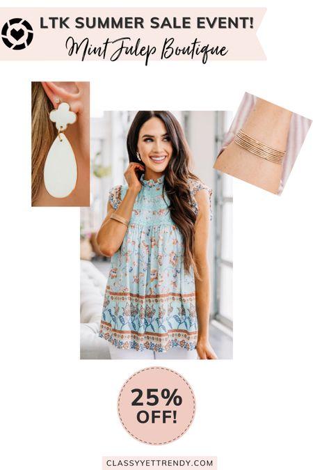 classy yet trendy, LTK DAY, #LTKDAY, The Mint Julep Boutique LTK Day Sale!, 25% Off, ruffle floral tank, white drop earrings, gold bangle set  #LTKstyletip#LTKshoecrush#liketkit @liketoknow.it  #LTKsalealert #LTKDay #LTKunder50