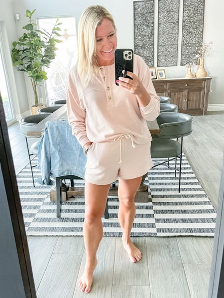 Love this light pink terry cloth matching set which is on sale for only $30 right now. The shorts are $12 and the sweatshirt is $17. Wearing a size small in both. Loungewear loft sale casual summer outfit travel outfit  #LTKsalealert #LTKSeasonal #LTKunder50  #LTKsalealert #LTKSeasonal #LTKunder50