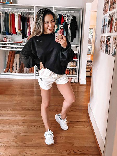 Nordstrom Anniversary Sale nsale activewear  Nike lounge sweatshirt shorts set - XS in both / size down  Nike white leopard print running workout sneakers - 6 / size up    #LTKsalealert #LTKfit #LTKshoecrush