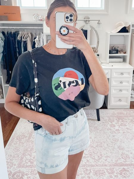 Levi's vintage graphic tee, denim shorts, jean shorts, Ae jeans, mirror selfie, summer outfit, casual outfit, mom shorts, American Eagle   #LTKunder100 #LTKunder50 #LTKstyletip