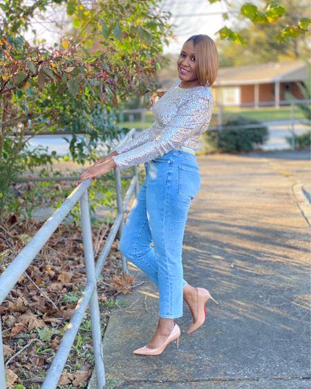 Gold sequins and Super High Waisted Metallic Waistband Slim Ankle Jeans http://liketk.it/33tuU #liketkit @liketoknow.it