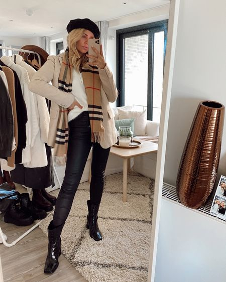 Beret with leather trousers and Burberry scarf with and other stories blazer coat #liketkit http://liketk.it/2Z0hj @liketoknow.it #LTKeurope #LTKunder50 @liketoknow.it.europe #StayHomeWithLTK