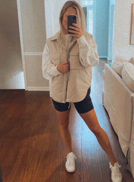 Vest size small Biker shorts TTS White sneakers sized down a half size    #LTKunder100 #LTKshoecrush