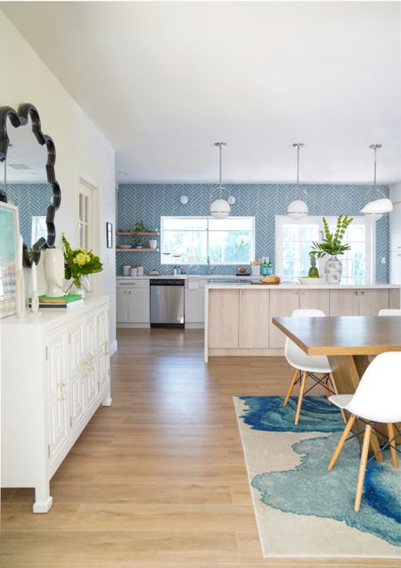 Modern, bright and bold kitchen with herringbone backsplash 😍  #LTKhome
