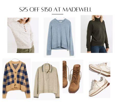 Madewell LTKsale sweater lace up boots white sneakers fall sneakers Buffalo plaid cardigan   #LTKsalealert #LTKstyletip #LTKSale