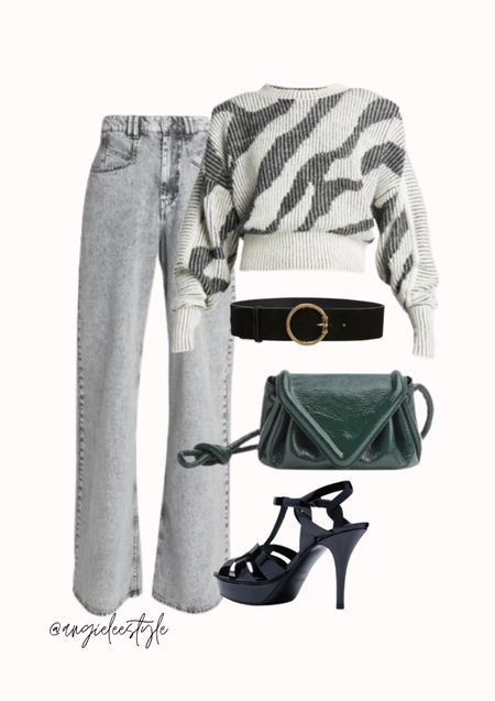 Loving this IRO printed sweater with the Isabel Marant high-waisted denim pants. I think it would look nice tucked in and belted with this gorgeous round-embellished buckle belt by ETRO, Saint Laurent platforms plus a splash of colour with the small v flap shoulder bag   #LTKstyletip #LTKeurope #LTKitbag