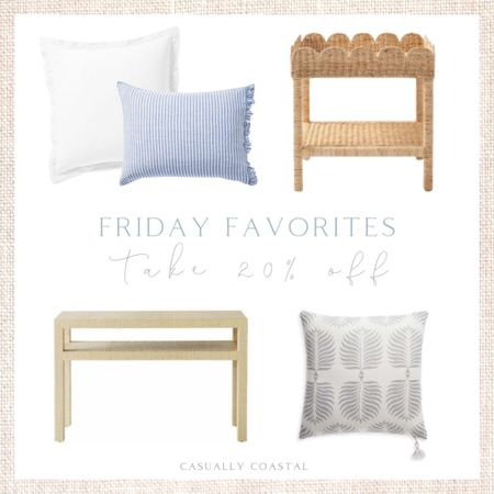 """Use code """"NEWSEASON"""" to take 20% off your entire order at Serena & Lily right now (a few exclusions apply, including gift certificates, artwork and clearance items). I am refreshing our guest room right now so I have pillows and bedding on the brain. These white shams and striped pillow cases would look gorgeous together, and this scallop side table would make the most beautiful bed-side table!  - coastal decor, beach house decor, beach decor, beach style, coastal home, coastal home decor, coastal decorating, coastal interiors, coastal house decor, home accessories decor, coastal accessories, beach style, blue and white home, blue and white decor, neutral home decor, neutral home, natural home decor, serena & lily, serena and lily, serena & lily sale, furniture sale, wicker side table, scalloped, bedroom side table, coastal nightstand, pillow shams, white pillow shams, neutral pillow shams, console table, raffia console table, woven console table, coastal console table, blake console table, bedding, white bedding, blue and white bedding,  blue and white pillows, blue & white pillow covers, grey pillows, gray pillows, pillow covers on sale, blue and white pillows, blue and white striped pillow covers, serena & lily pillow covers  #LTKsalealert #LTKstyletip #LTKhome"""