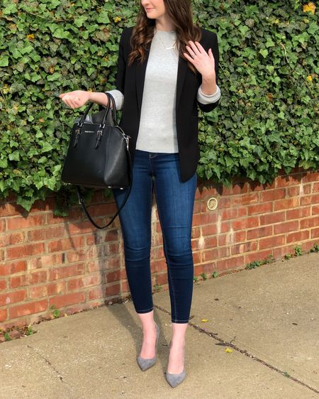 http://liketk.it/3e5IP #liketkit @liketoknow.it wearing a 2 in the blazer, an XS in the sweater, 2/26 in the jeans. The heels run TTS but a tiny bit big, I added some heel grips and they're perfect   early spring work outfit, business casual, sweater with blazer, grey heels.
