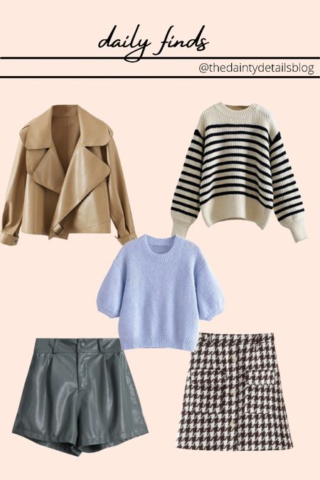 Daily finds: fall outfits, sweaters, leather jacket, leather shorts, houndstooth skirt, striped sweater  CAREY40 for 40% off!   #LTKSeasonal #LTKsalealert #LTKunder100