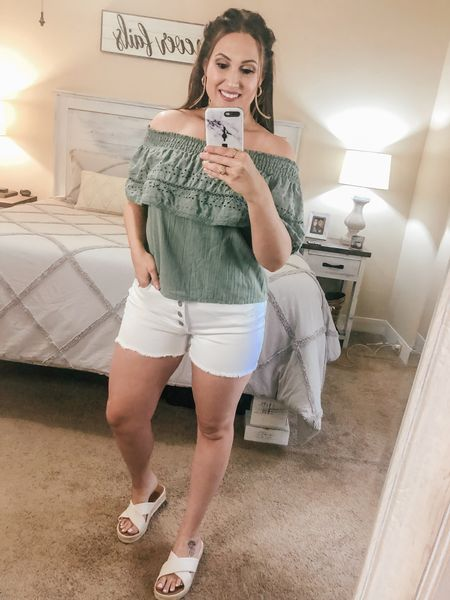 Walmart finds! This outfit is perfect for summer and very affordable. If you're interested in the shorts, definitely size up! These shorts are SO comfortable and they're retailing for $10 right now! #walmart #walmartfinds #casual #comfy #affordable #summerstyle #shorts #top #cute #curves #midsize   #LTKcurves #LTKunder50 #LTKstyletip