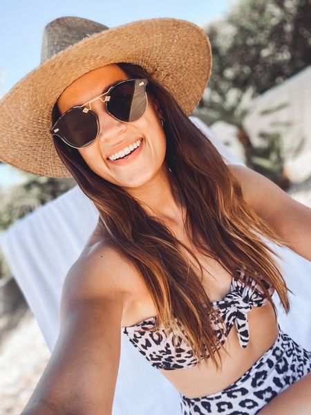 Weekend pool time 😎 Hat is old from Jenni Kayne, but sunglasses and swimsuit are current and linked 💛   #LTKSeasonal #LTKswim #LTKtravel