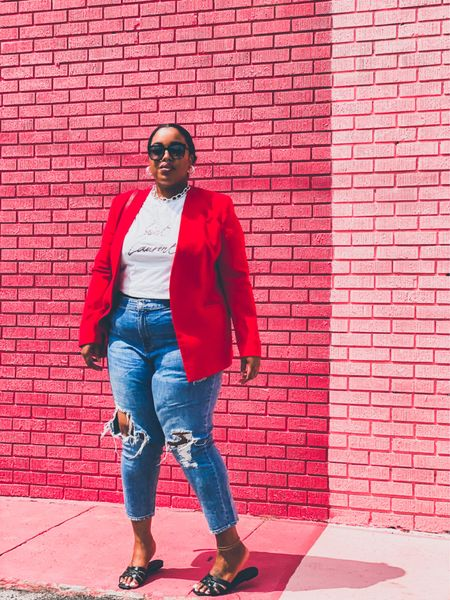 """Spend less time trying to put together the """"perfect"""" plus size summer fashion outfit and MORE time literally taking whatever you're wearing and throwing a brightly-coloured blazer on top 🤷🏽♀️🤷🏽♀️🤷🏽♀️  Eloquii has the best lot of them at the moment, or you can thrift one. I also found the perfect blazer for under $35 available in sizes up to a 22-24.   Either way: get you a bright blazer girl!  #LTKstyletip #LTKunder100 #LTKcurves"""