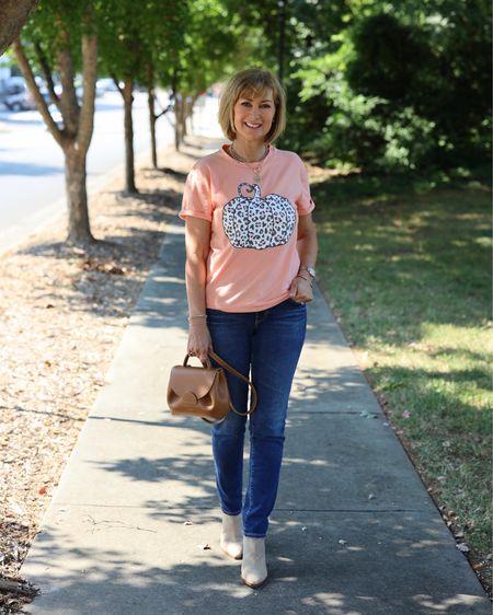 Happy Saturday! Wearing this cute leopard pumpkin tee shirt for errands around town. So cute for fall!  Fall style, fall fashion, Amazon find, Amazon fashion  #LTKunder50 #LTKshoecrush #LTKSeasonal