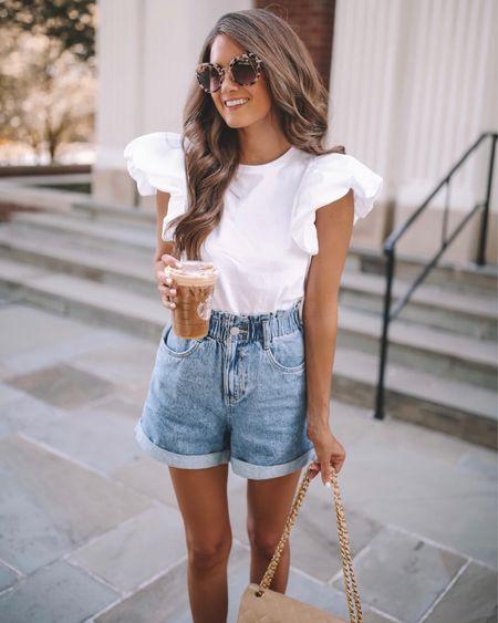 Flutter sleeves for fall! 🍁 White top, denim shorts, Miu Miu sunglasses, nude sandals  #LTKunder100 #LTKSeasonal #LTKunder50