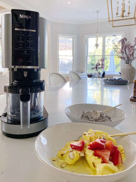 """Guys my new obsession!!! This new drop from Ninja makes homemade ice cream, smoothie bowls, fresh sorbet and more all with the touch of a button!! First time customers save $15 with code """"NEW"""" and second time customers save $10 with code """"HELLO10"""".  #LTKhome #LTKsalealert #LTKGifts"""