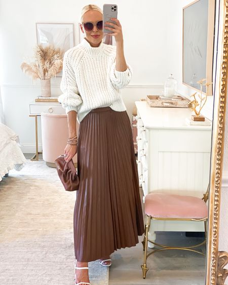 Girl with curves qvc collection. Faux leather pleated skirt in brown. Chunky neutral sweater. Cognac sandals.   #LTKunder100 #LTKSeasonal #LTKstyletip
