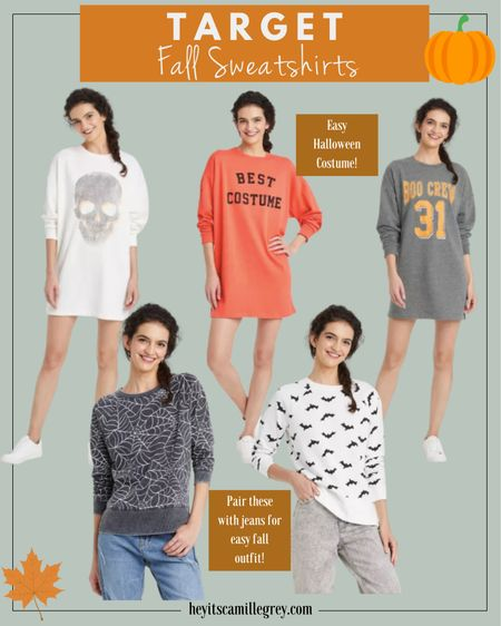 Target Fall and Halloween sweatshirts! The sweatshirt dresses will be perfect as the weather gets cooler. I have my eye on the spider sweatshirt. The best costume orange dress is perfect for halloween!   #LTKunder50 #LTKunder100 #LTKSeasonal