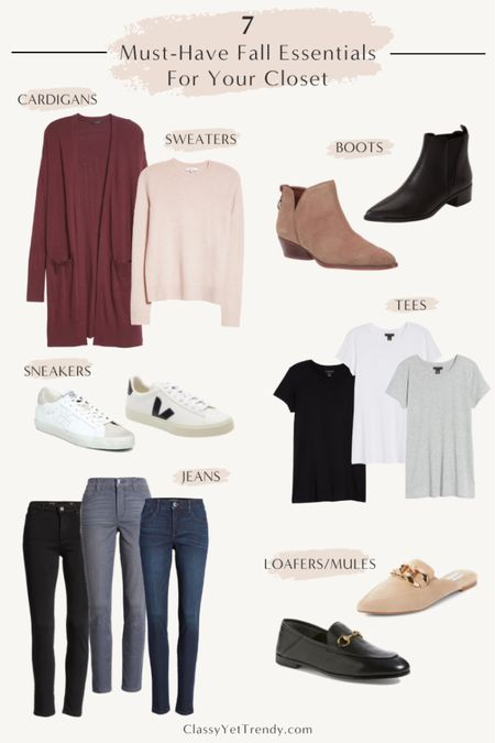 7 Must-Have Fall Essentials For Your Closet At Nordstrom, tee, sweater, cardigan, jeans, boots, sneakers, loafers, mules  @nordstrom #nordstrom