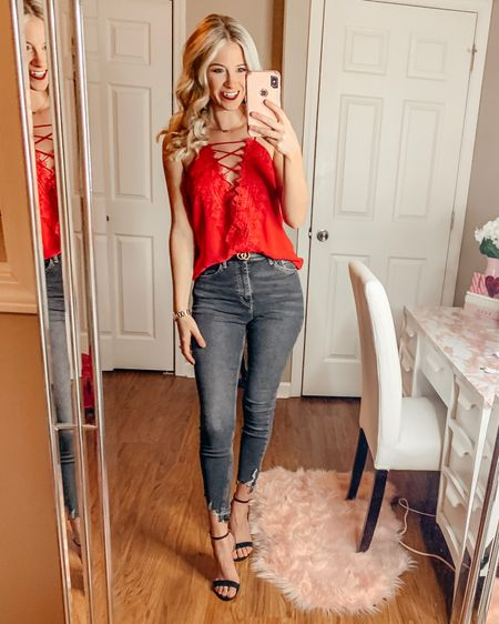 Girls Night Out Outfit | Red Cami | Camisole | Lace Camisole | Lace Tank | Red Tank | Highwaisted Denim | Highwaisted Jeans | Dark Denim | Dark Jeans | Distressed Jeans | Black Heels @liketoknow.it #liketkit http://liketk.it/2E2vV