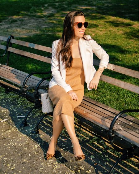 Sweater dress in XS, white blazer, animal print pumps, business casual, work outfit, summer outfit, knit dress, bucket bag, office outfit,   http://liketk.it/3k4Jl #liketkit @liketoknow.it #LTKworkwear #LTKshoecrush #LTKstyletip