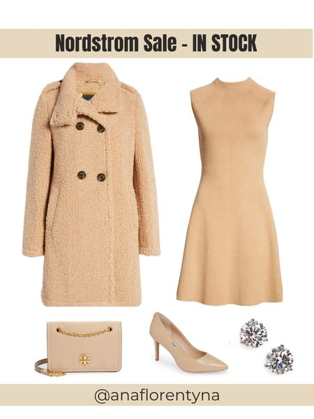 Double breasted faux shearling coat, teddy coat, sweater dress, neutral outfit, nude bag, nude pumps, Nordstrom Sale, NSale, fall outfits, winter coat, camel coat, Tory burch bag, cubic zicornia,     #LTKsalealert #LTKunder100 #LTKstyletip