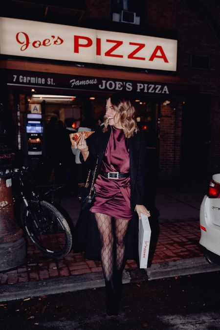 Pizza is always a good idea. 🍕 Joe's is hands down my fav in the city! I'll eat it morning, noon, or night. 👌🏼 Shop my look (this dress also comes in a bright green— it's so flattering!) & get sizing info via the @liketoknow.it app. #NYFW #aloproonthego • • I'm wearing an AU 6 in this dress. If u sure of sizing, go up. It's a great wedding guest dress or awesome for any cocktail party! My long black wool coat by reformation is a size XS. It's so chic & warm! My pearl embellished black belt is such a fun addition to any outfit. My black Gucci tights are such a fun statement accessory. These black Vince camuto booties are so comfortable & fit TTS. http://liketk.it/2Kcp9 #liketkit #LTKstyletip #LTKshoecrush #LTKspring cocktail dress / mini dress / silk dress / belt / b-low the belt / Gucci / Gucci tights / reformation / shopbop / night out / date night / wedding guest dress / NYFW / nyc
