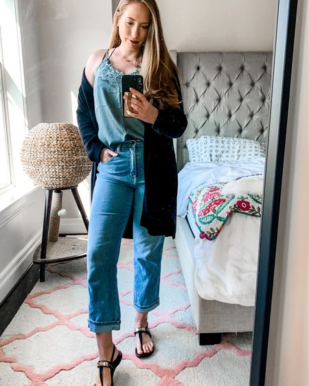 Happy Fri-Yay! Sharing last week's lunching 'fit bc I finally got dressed to venture outside my apt 😆. My cami and cardi are under $25 🙌🏻 Also, I've been anti-high rise jeans for so long but the Wranglers I'm wearing here might make me change my mind - what do you think? You can grab all the outfit deets via @liketoknow.it ✌🏻 http://liketk.it/2ZXkP  . . . #amazonfashion #mirrorselfie #cozycardigan #longcardigan #highrisejeans #highwaistedjeans #casuallook #casualstyle #croppedjeans #lacecami  #liketkit